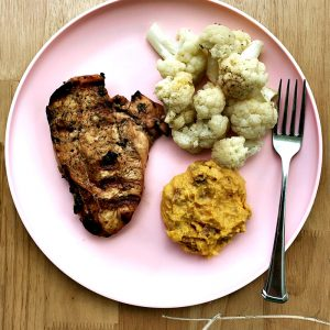 Grilled Chicken Mashed Sweet Potato and Cauliflower