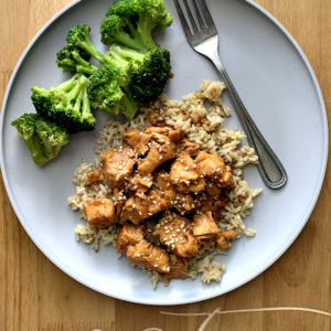 Teriyaki Chicken Bowl with Rice and Broccoli